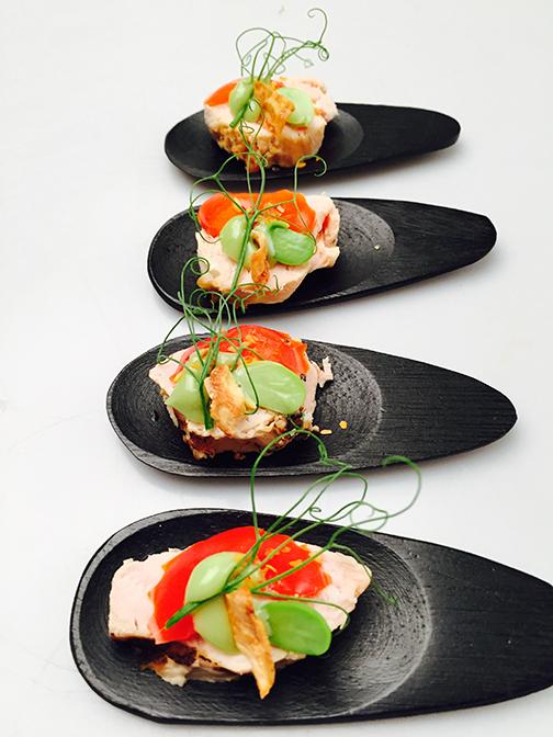 Black bamboo mini taster & Bite Size Service - Miniware small plates picks and skewers ...